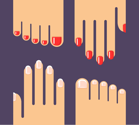 french manicure: Manicure and pedicure illustration in flat style. Hands and feet with french manicure and red nail polish.