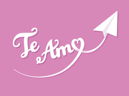 san valentin: Valentines Day greeting card. Te Amo - I love You in Spanish - hand drawn lettering with heart shaped paper airplane trail.