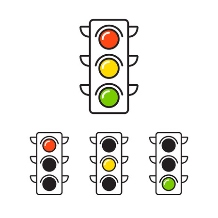 Traffic light icon with three states: red, yellow and green.
