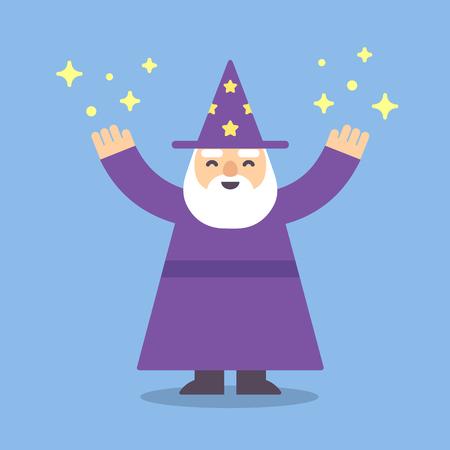 abracadabra: Cute cartoon wizard illustration in modern flat style.