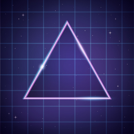 scifi: 80s retro sci-Fi background template, a shiny triangle on space laser grid background. Vector illustration.