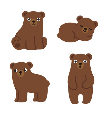 Reeks leuke cartoon beer welpen met grappige gezichten en verschillende poses. Eenvoudige, moderne stijl vector illustratie. Stock Illustratie