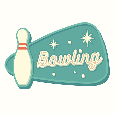 Vintage bowling sign in traditional American style. Isolated vector illustration.