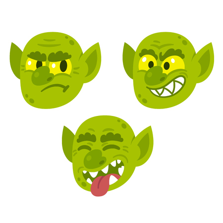 fictional character: Funny cartoon goblin or troll face with different expressions. Vector character illustration.