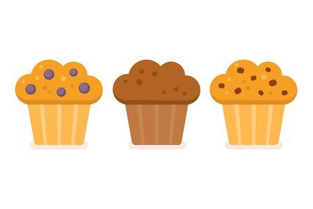 magdalenas: Conjunto del icono del panecillo. Arándanos, chocolate y chispas de chocolate. Ilustración del vector en estilo plano simple.