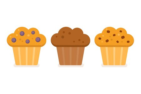sweet pastries: Muffin icon set. Blueberry, chocolate and chocolate chip. Vector illustration in simple flat style.