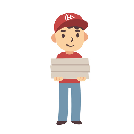 delivery boy: Cute cartoon pizza delivery boy with pizza boxes. Isolated vector illustration.