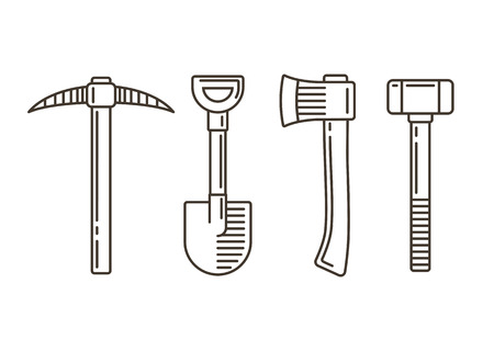 sledge hammer: Set of work tools: pickaxe, shovel, axe and sledge hammer. Retro style line icons. Vector elements for emblem and logotype design.