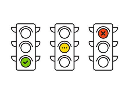 교통 신호등 인터페이스 아이콘입니다. 빨간색, 노란색 및 녹색 (예, 아니오 및 대기). 얇은 라인 벡터 단추입니다.