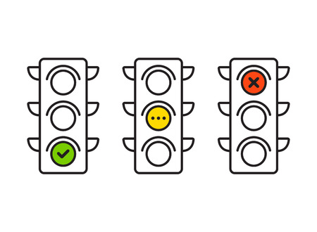 Traffic light interface icons. Red, yellow and green (yes, no and standby). Thin line vector buttons. Stock Illustratie