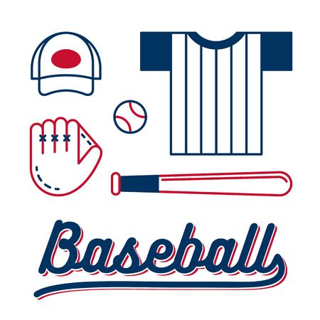 glove: Line icon set of baseball equipment and clothes with retro styled lettering.