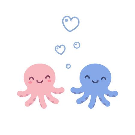 두 개의 귀여운 만화 낙 지, 블루와 핑크, 심장 모양의 거품.