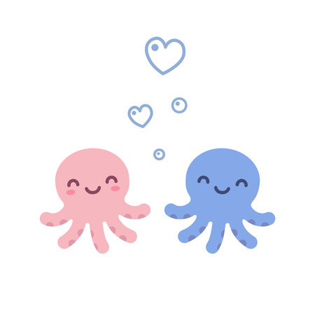 Two cute cartoon octopuses, blue and pink, with heart shaped bubbles.