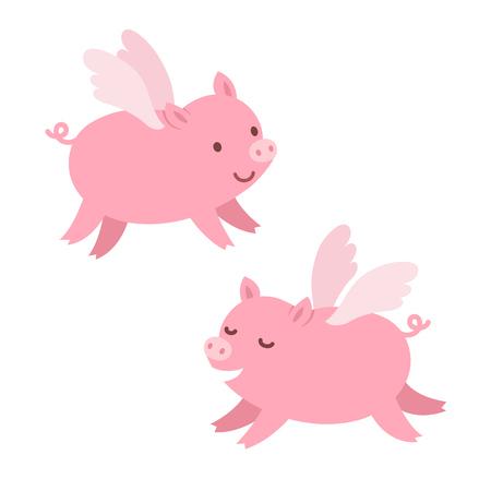 cerdos: Dos cerdos lindos de vuelo de dibujos animados. Ilustración aislada.