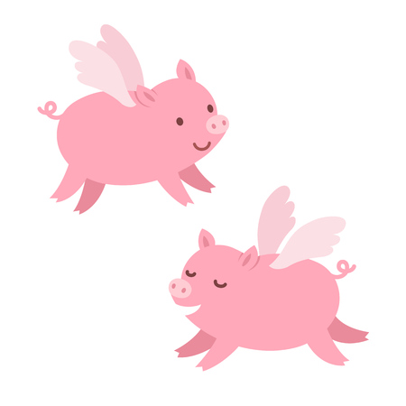 pig wings: Two cute cartoon flying pigs. Isolated illustration. Illustration