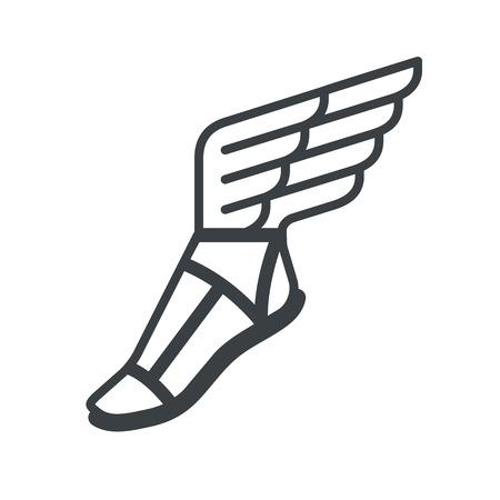 chaussure: sandale grecque antique avec des ailes. icône de la ligne.