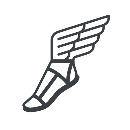 sandalias: sandalia griega antigua con las alas. icono de la línea.