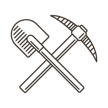 pickaxe: Crossed shovel and pickaxe line icon.  emblem in vintage style. Illustration