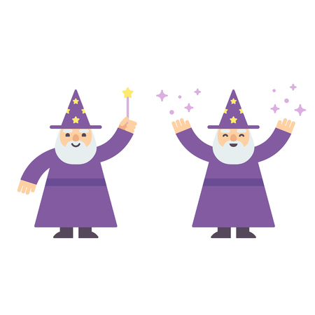 Cute cartoon wizard with magic wand and casting spell. Modern flat style illustration.