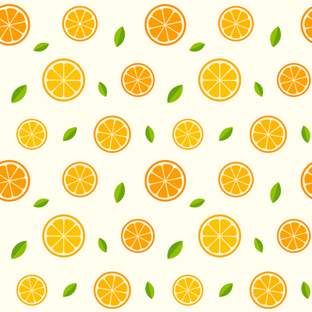 Seamless pattern with oranges and leaves. texture illustration.