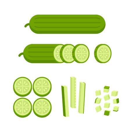 cocina caricatura: pepino fresco - en rodajas, en cubitos y cortar en forma cerilla. Cocinar la ilustración en estilo moderno plano.
