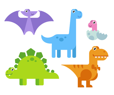 bright colors: Cute cartoon dinosaurs set in simple modern flat style and bright colors. illustration.