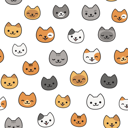 Seamless pattern of cute cartoon cats, different breeds and colors.