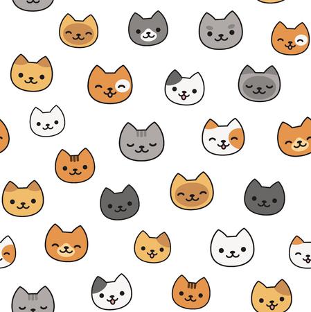 Nahtlose Muster von niedlichen Comic-Katzen, verschiedene Rassen und Farben. Vektorgrafik