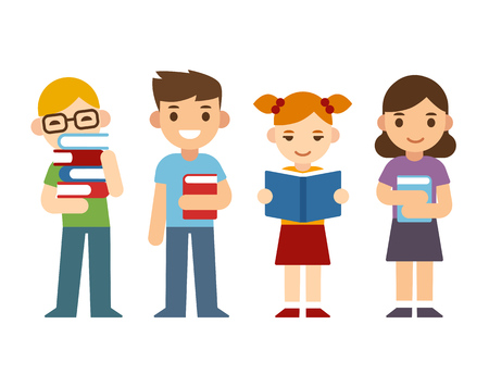 Cute cartoon children with books. Happy diverse kids, boys and girls.