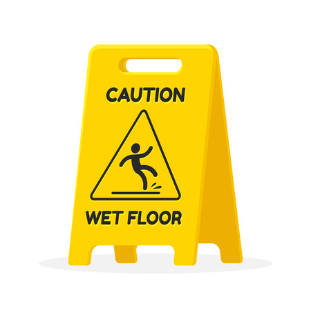 wet cleaning: Wet floor sign. Isolated fat illustration.