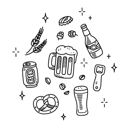Set of beer and brewery doodles. Hand drawn sketch style. Isolated vector illustration. Stock Illustratie