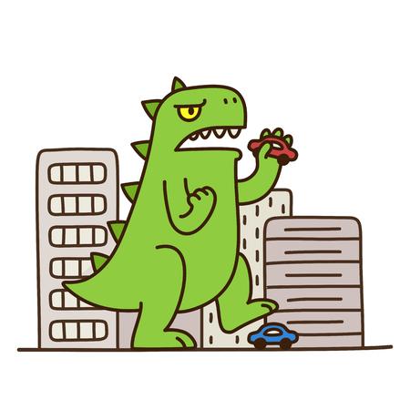 monstruo de dinosaurio de dibujos animados la destrucción de la ciudad. Ejemplo lindo y divertido. Ilustración de vector