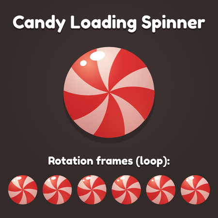 preloader: Spinning cartoon candy preloader for game, application or website. Bright and glossy loading progress animation. Illustration