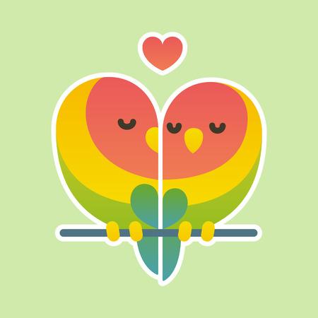 Cute cartoon lovebird parrots couple. Valentines day card vector illustration. Illustration