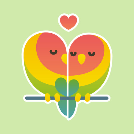 couple nature: Cute cartoon lovebird parrots couple. Valentines day card vector illustration. Illustration