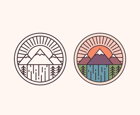 waterfall in forest: Vector mountain with waterfall, outline style and colored. National park emblem badge vector illustration.