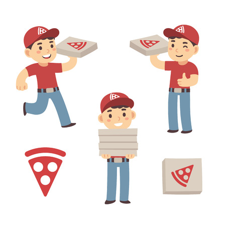 Cute cartoon pizza delivery boy set. Three poses, cardboard box and pizza slice. Vector illustration.