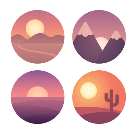 locations: Set of flat cartoon sunset landscapes in circles. Different locations: desert, mountains and sea. Background vector illustration collection.