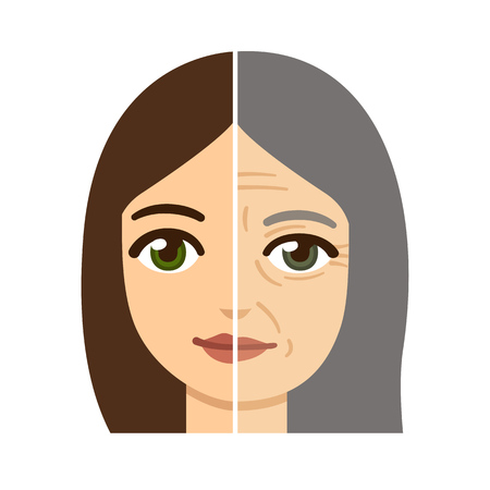 aging: Woman facedivided in half, young and old with wrinkles.