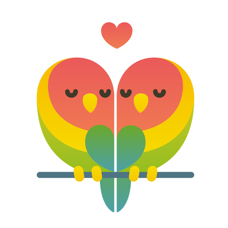 Cute cartoon lovebird parrots couple with heart shape. Valentines day card vector illustration.