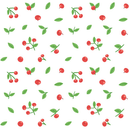 cranberries: Seamless pattern with cranberries and leaves. Elegant red berries texture.
