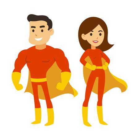 Pareja de superhéroes de dibujos animados, hombre y mujer en trajes rojos con capas. Ilustración de vector lindo superhéroe