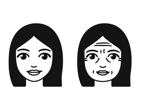 womans stilizzati affrontare nelle diverse fasi della vita, giovani e vecchi. Illustrazione vettoriale. Vettoriali