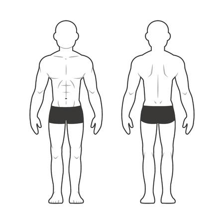 cuerpo hombre: mapa corporal masculino atlético. silueta del hombre muscular de la parte delantera y trasera. Vectores