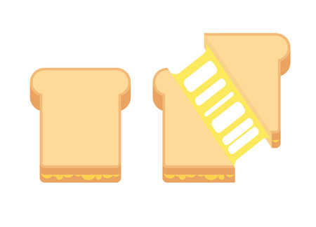 Grilled cheese sandwich with melted cheese. Flat cartoon style illustration. Vectores