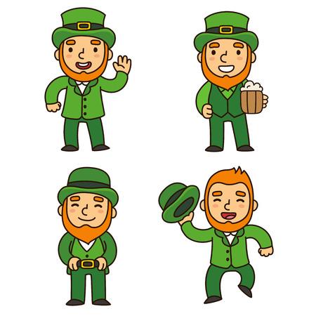 leprechauns: Saint Patricks Day leprechauns set. Cute cartoon elves in different poses. Isolated illustration.