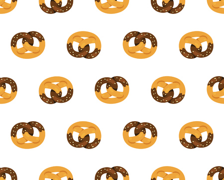 Chocolate covered pretzels seamless pattern on white background.