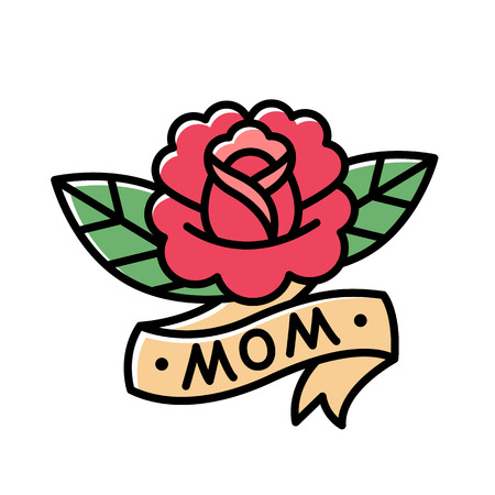moms: Traditional American style rose tattoo with ribbon and word Mom. Old school retro tattoo illustration.