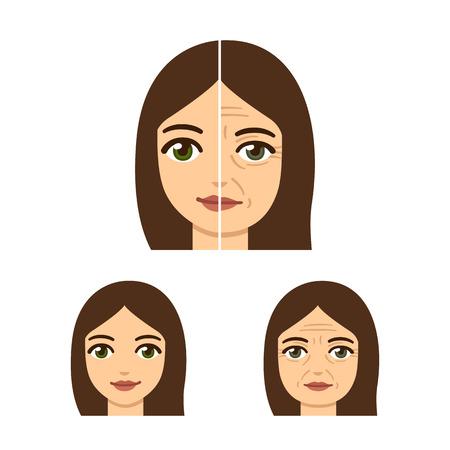 Anti-envejecimiento de la ilustración tratamiento. Cara de mujer, joven y viejo con arrugas. Ilustración de vector