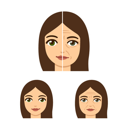 Anti-aging treatment illustration. Woman face, young and old with wrinkles. Illustration